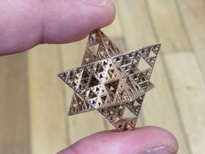 Sierpinski Octostar 2.5cm in Raw Bronze