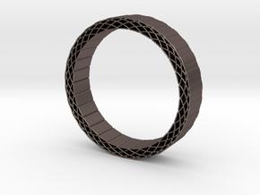 Rhombus holes bracelet in Polished Bronzed Silver Steel