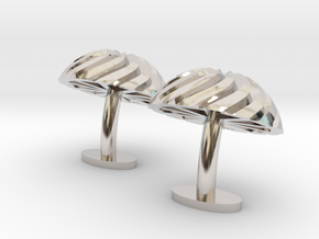 Spiral Cufflinks in Rhodium Plated Brass