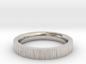 Tree Bark Ring in Rhodium Plated Brass