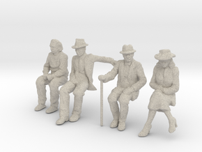 4 seated Low Res 1/32nd Scale figures in Natural Sandstone