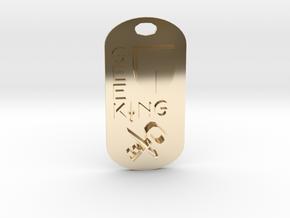Geek King Keychain in 14k Gold Plated Brass