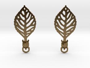 Turtle Leaf Earrings in Natural Bronze