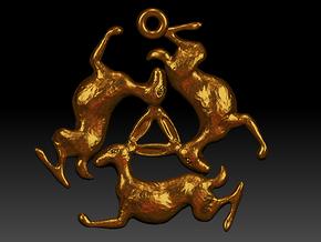 Three Hares Pendant in Polished Bronze