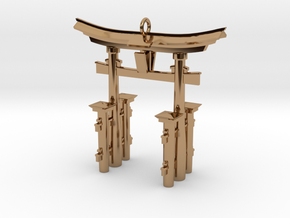 Torii Gate Pendant / Keychain in Polished Brass