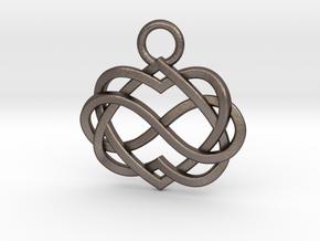 Infinity Heart Pendant in Polished Bronzed Silver Steel