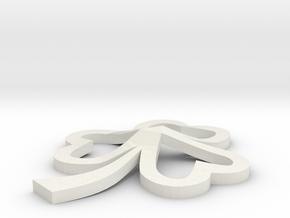 Heart Shamrock Pendant in White Natural Versatile Plastic