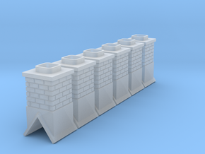 HO Scale Short Chimney X6 in Smooth Fine Detail Plastic