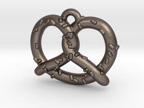 "Pretzel Pendant 1"" in Polished Bronzed Silver Steel"