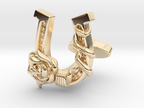 Luck N Roses Cufflinks Single Rose in 14k Gold Plated Brass