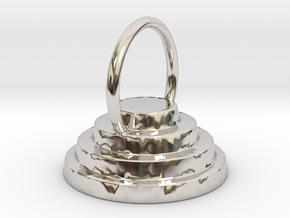 Devo Hat 15mm Earring / Pendant in Rhodium Plated Brass