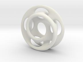 10 holes - interlocked moebius in White Natural Versatile Plastic