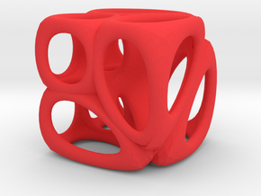 Voronoi Cube (001) in Red Strong & Flexible Polished