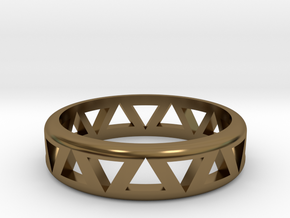 Slender Triangle Pattern Ring in Polished Bronze