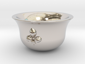 Sake cup fleur-de-lis  in Rhodium Plated Brass