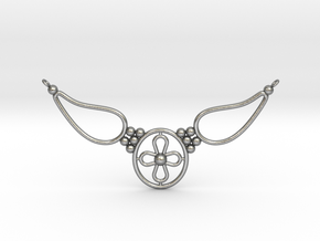 pendant with flower in Natural Silver
