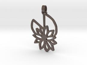 Waterlily Pendant in Polished Bronzed Silver Steel