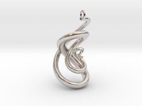 Serpent Pendant in Rhodium Plated Brass