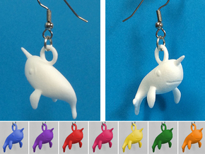 Narwhal Earrings in White Strong & Flexible Polished
