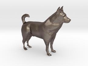 "Shepherd Dog - 5 cm / 2"" in Polished Bronzed Silver Steel"