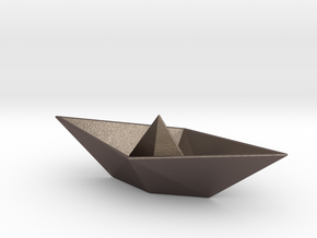 Origami Boat in Polished Bronzed Silver Steel