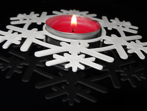 Snow Flake Tea light in White Natural Versatile Plastic