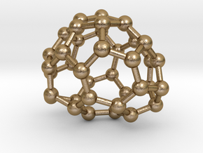 0087 Fullerene c38-6 c2  in Polished Gold Steel