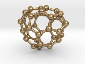 0088 Fullerene c38-7 c1  in Polished Gold Steel
