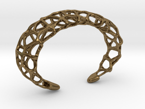 Cuff Design - Voronoi Mesh with Large Cells in Natural Bronze
