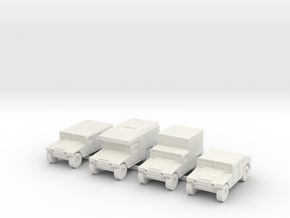 1/144 12mm scale Humvee HMMWV Hummer 4 types in White Natural Versatile Plastic