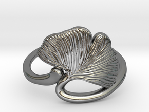 Ginkgo Leaf ring in Polished Silver: 11 / 64