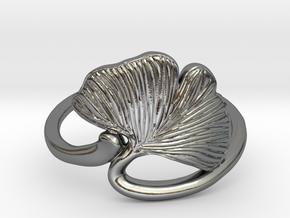 Ginkgo Leaf ring in Polished Silver: 3 / 44