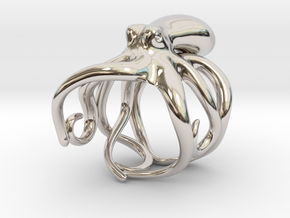 Octopus Ring 19mm in Rhodium Plated Brass