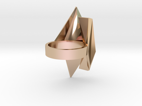 Spaceship Ring v2 size 8 in 14k Rose Gold Plated Brass