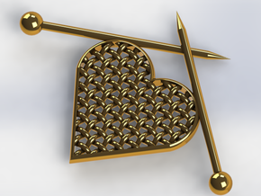 Woven Heart with Knitting Needles in 14k Gold Plated Brass