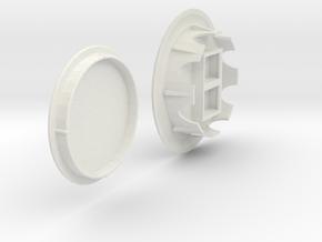 Recessed Dual Keystone Jacks In 60mm Desk Grommet in White Natural Versatile Plastic