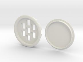 Recessed Seven Keystone Jacks In 86mm Desk Grommet in White Natural Versatile Plastic