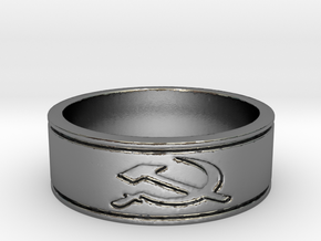 russian Hammer & Sickle  Ring Size 8.25 in Polished Silver
