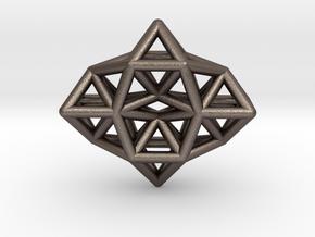 Deltahedron Toroid Pendant in Polished Bronzed Silver Steel