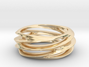 Triple Swirl Size 6 US in 14k Gold Plated Brass