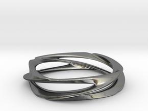 Single Swirl Size 7.5 US in Fine Detail Polished Silver