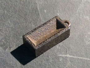 House Brick Charm in Polished Bronzed Silver Steel