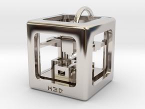 3D Printer Pendant in Rhodium Plated Brass