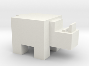 Cubicle Rhino in White Natural Versatile Plastic