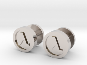 Half-Life Lambda Cufflink in Rhodium Plated Brass