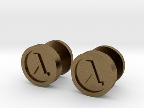Half-Life Lambda Cufflink in Natural Bronze