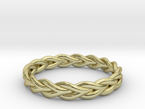 Ring of braided rope - size 7 in 18k Gold Plated Brass