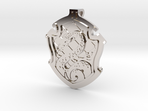 Slytherin House Crest - Pendant SMALL in Rhodium Plated Brass