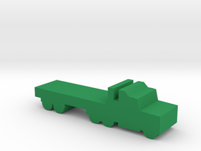 Game Piece, Semi-truck Flatbed in Green Processed Versatile Plastic