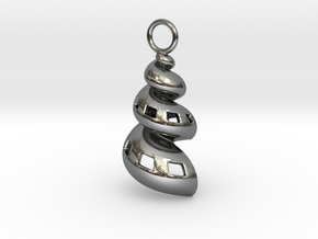 Conic Seashell Pendant in Fine Detail Polished Silver